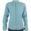 เสื้อเชิ้ตผุ้ชายลายจุด สีฟ้าขาว คอจีน