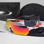แว่นตาปั่นจักรยาน Oakley Radar EV Zero สีขาว-แดง (เลนส์มัลติคัลเลอร์สีแดง)