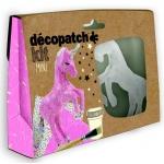 Decopatch - MINI KIT, Horse เซ็ตโมเดลกระดาษแข็งสำเร็จรูป ม้าสำหรับทำงานศิลปะ ขนาด3.5 x 19 x 13.5 ซ. ม. พร้อมอุปกรณ์ในกล่องโมเดลกระดาษแข็งรูปทรงม้า, กาว 1 ขวด, พู่กัน 1 ด้าม, กระดาษdecopatch