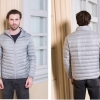 Men's Ultra light slim Down jacket ผสมขนเป็ด Duck down 90% !! (Light grey)