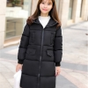 Korean girl's long winter jacket (Black)