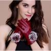 ถุงมือหนัง PU Collar lady glove (สีแดง)