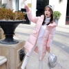 Korean girl's long winter jacket (pink)
