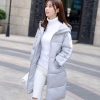 Korean girl's long winter jacket (Grey)