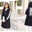 Korean girl's long winter jacket (Black) thumbnail 3