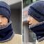 High quality winter wool hat หมวกไหมพรหมพร้อมผ้าพันคอ (สีน้ำเงิน) thumbnail 2