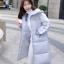 Korean girl's long winter jacket (Grey) thumbnail 2