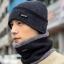 High quality winter wool hat หมวกไหมพรหมพร้อมผ้าพันคอ (สีดำ) thumbnail 1