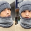 High quality winter wool hat หมวกไหมพรหมพร้อมผ้าพันคอ (สีเทา) thumbnail 2