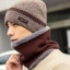 High quality winter wool hat หมวกไหมพรหมพร้อมผ้าพันคอ (สีน้ำตาล) thumbnail 1