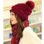 เซ็ตหมวกไหมพรหม + ผ้าพันคอ (ผู้หญิง/สีแดง) thumbnail 1