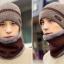 High quality winter wool hat หมวกไหมพรหมพร้อมผ้าพันคอ (สีน้ำตาล) thumbnail 2