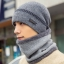 High quality winter wool hat หมวกไหมพรหมพร้อมผ้าพันคอ (สีเทา) thumbnail 1