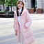Korean girl's long winter jacket (pink) thumbnail 3