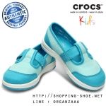 C9 : Crocs Girls' LoPro Mary Jane Sneaker - Sea Foam / Surf ของแท้ Outlet ไทยและอเมริกา