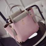 กระเป๋าแฟชั่นเกาหลีพร้อมส่ง รหัส SUIF0150PK สีชมพู มีกระเป๋าใบเล็กด้านใน น่าใช้ค่ะ
