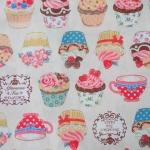 ผ้าคอตตอน ผ้าฝ้าย ญี่ปุ่น ลายคัพเค้ก Tea Party สีขาว ของ Cosmo Textile  เนื้อฝ้ายแท้ 100%  น่ารักมากค่ะ