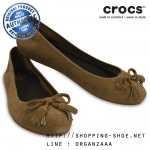 W6.5 (24 cm.) : Crocs Lina Embellished Suede Flat - Hazelnut ของแท้ Outlet ไทยและอเมริกา