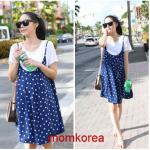 mK868 ชุดเอี้ยมคลุมท้องแฟชั่นเกาหลี เอี้ยมสีน้ำเงินลายจุดขาว+เสื้อยืดสีขาว เนื้อผ้านิ่มใส่สบายค่ะ