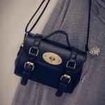 กระเป๋าสะพายข้างผู้หญิงพร้อมส่ง รหัส SUIF0229BK สีดำ ตัวล๊อคแบบลูกบิด