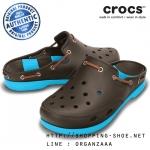 M9 (27.5 cm.) : Crocs Beach Line Clog - Espresso / Electric Blue ของแท้ Outlet ไทยและอเมริกา