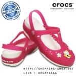 W8 (25 cm.) : Crocs Carlie Hello Kitty Flower Mary Jane - Fuchsia / White ของแท้ Outlet ไทยและอเมริกา