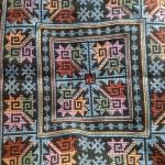 ผ้าปักคลุมหัวเจ้าสาว ลายโบราณ ผืนสี่เหลี่ยมสีโทนฟ้า