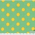 ผ้าลายจุด ขนาด 10 mm รุ่น Color Basic ของ Lecien พื้นเขียวจุดเหลือง