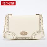 กระเป๋า Axixi พร้อมส่ง รหัส NM12016-2 สีเบจ แต่งลายฉลุขอบกระเป๋า แบบสวยน่ารักค่ะ