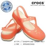 W7 (24 cm.) : Crocs Carlie Cut Out Clog - Coral / Oyster ของแท้ Outlet ไทยและอเมริกา