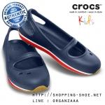 C7 (14.5 cm.) : Crocs Retro Mary Jane Girls - Navy / Red ของแท้ Outlet ไทยและอเมริกา
