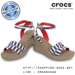 W7 (24 cm.) : Crocs Women's Leigh Graphic Wedge - Nautical Navy / White ของแท้ Outlet ไทยและอเมริกา