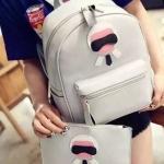 กระเป๋าเป้ Set 2 ใบพร้อมส่ง รหัส SUIF0226GY สีเทา ลายสวยน่ารักค่ะ