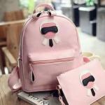 กระเป๋าเป้ Set 2 ใบพร้อมส่ง รหัส SUIF0226PK สีชมพู ลายสวยน่ารักค่ะ