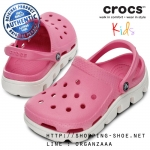 C6/7 (15.5 cm.) : Crocs Duet Sport Clog Kids - Party Pink / Oyster ของแท้ Outlet ไทยและอเมริกา
