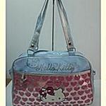 กระเป๋าถือ Hello Kitty / สีฟ้า งานผ้าเคลือบพลาสติก