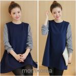 K9814 เสื้อคลุมท้องแฟชั่นเกาหลี โทนสีกรม ผ้านิ่มใส่สบายค่ะ แขนแต่งลายสก็อตดูน่ารักมากๆ ค่ะ