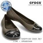 W5 (22.5 cm.) : Crocs Women's Cap Toe Flat - Espresso / Black ของแท้ Outlet ไทยและอเมริกา (มีกล่อง)
