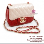 กระเป๋าแฟชั่นพร้อมส่ง รหัส DB-3067-1 แบบทูโทน ซับในสีแดง สวยค่ะ