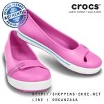 W8 (24.5 cm.) : Women's Crocband II.5 Flat - Party Pink / Surf ของแท้ Outlet ไทยและอเมริกา