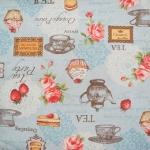 ผ้าคอตตอนลินิน ญี่ปุ่น รุ่น Vintage Collage  ลายชุดน้ำชาและของว่าง สีฟ้า สไตล์วินเทจ สวยมากค่ะ