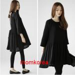 K10204 เสื้อคลุมท้องแฟชั่นเกาหลี โทนสีดำ ด้านหลังแต่งด้วยโบว์ มีซัปในทั้งตัว ผ้านิ่มใส่สบาย