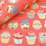 ผ้าคอตตอน ผ้าฝ้าย ญี่ปุ่น ลายคัพเค้ก Tea Party สีโอโรส ของ Cosmo Textile  เนื้อฝ้ายแท้ 100%  น่ารักมากค่ะ