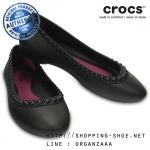W6 (23.5 cm.) : Crocs Lina Luxe Flat - Black / Black ของแท้ Outlet ไทยและอเมริกา