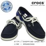 M9 (28 cm.) : Crocs Beach Line Lace-up Boat Shoe - Navy / White ของแท้ Outlet ไทยและอเมริกา