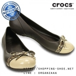 W8 (25 cm.) : Crocs Women's Cap Toe Bow Flat - Espresso / Gold ของแท้ Outlet ไทยและอเมริกา