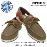 M7 (26 cm.) : Crocs Beach Line Lace-up Boat Shoe - Walnut / Stucco ของแท้ Outlet ไทยและอเมริกา
