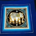 ปลอกหมอนอิง สีน้ำเงิน แต่งลายช้าง สวยงาม ขนาด 16X16 นิ้ว
