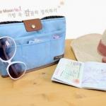 กระเป๋า bag in bag รหัส 4937 สีฟ้า จัดระเบียบ สิ่งของ แบบสวยค่ะ