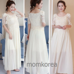 เดรสใส่ไปงานคลุมท้องแฟชั่นเกาหลี เสื้อเป็นผ้าลูกไม้แฟชั่นเกาหลี